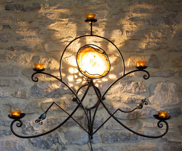 Luminaires atelier fer et mati res - Bougeoir mural fer forge ...