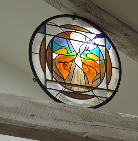 The butterfly woman in stained glass and iron wall or for Decoration fer forge mural