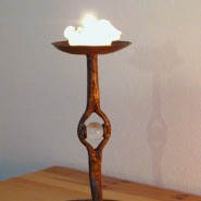 Iron candlestick with quartz