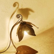 Flower lamp on heart-shaped stand, iron