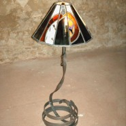 Lamp, flat iron, with stained glass shade