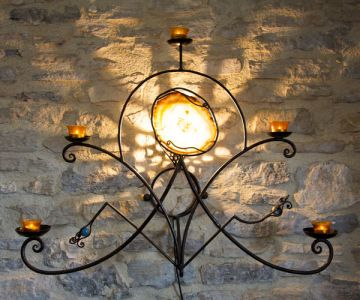 LAMPE ET BOUGEOIR A POSER OU EN APPLIQUE MURAL