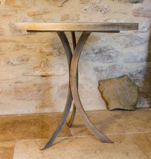 TABLE FER PLAT ET BÉTON CIRE 60 cm X 60 cm