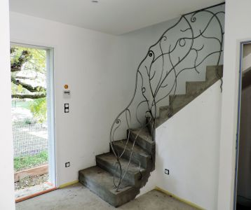 Rampe escalier fer contemporain