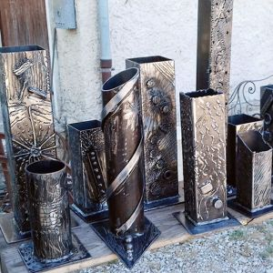 Vases - sculptures en fer forgé