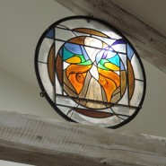 The Butterfly Woman in stained glass and iron, wall or ceiling decoration,